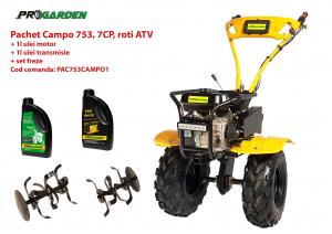Pachet motocultor Campo 753, benzina, 7CP, 2+1 trepte, roti ATV, ulei motor si transmisie incluse [0]