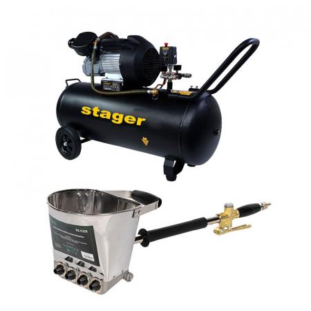 Pachet compresor Stager HM3100V 3CP, 100L,10 bar cu masina tencuit pereti Detoolz pneumatica, cupla rapida si duze incluse, ideal pentru costructii [0]