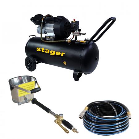 Stager HM3100V-10 compresor aer, 100L, 10bar, 356L/min, monofazat cu masina de tencuit pneumatica Detoolz si furtun 10 m [0]