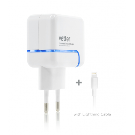 Incarcator Priza iPhone 6s, 6, 5SE, 5S, 5, 5c | 2.4A Dual USB with Lightning Cable | White 1