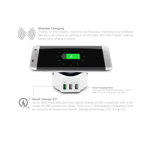Statie Incarcare All in One | Wireless Charger with Smart and Quick Charge 3.0 2