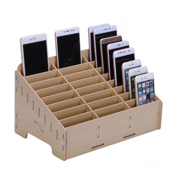 Wooden Desktop Storage Box Mobile Phone Repair Accessories Container 24 Grid 0