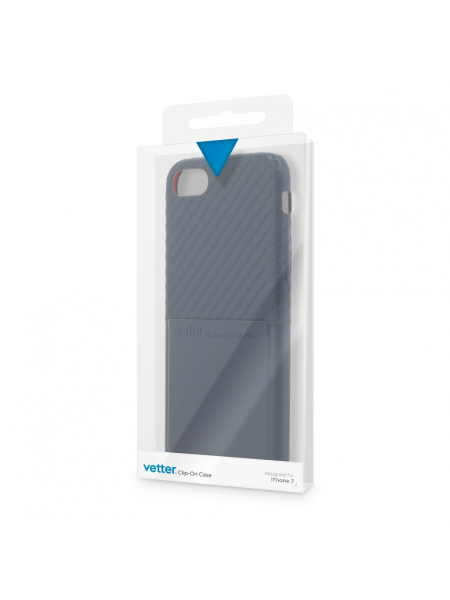 Husa iPhone 8, 7 | Clip-On with Card Port | Carbon Fiber Feel | Blue 1