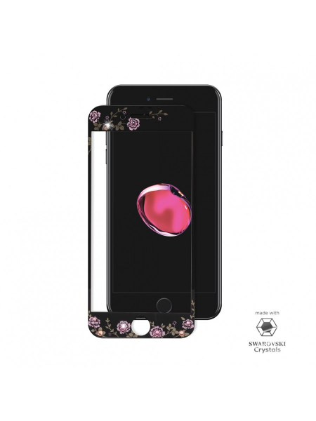 Folie Protectie Sticla iPhone 7 Plus | Full Frame Tempered Glass | with Swarovski Crystals | Black 1