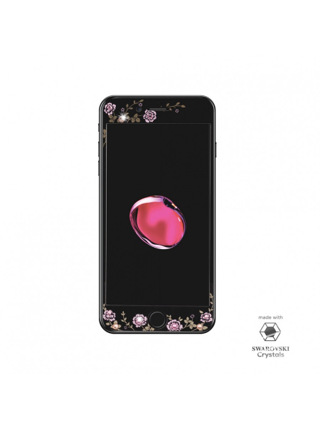 Folie Protectie Sticla iPhone 7 Plus | Full Frame Tempered Glass | with Swarovski Crystals | Black 2