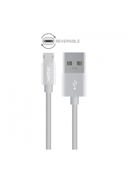 Cablu Micro USB Reversibil | Nylon Braided Wire | 1 m | Grey 1
