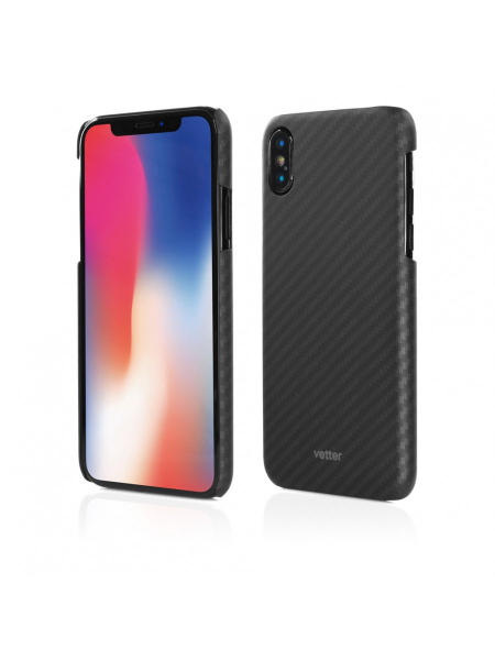 Husa iPhone XS, X | Smart Case Carbon Design | Rubber Feel | Black 0