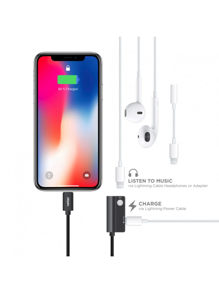 Adaptor Dual Lightning Audio | Charging and Music Playback | Black 1