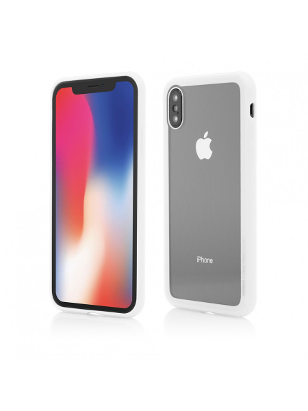 Husa iPhone X | Clip-On Hybrid | Soft Edge with Clear Back Glass | White 0