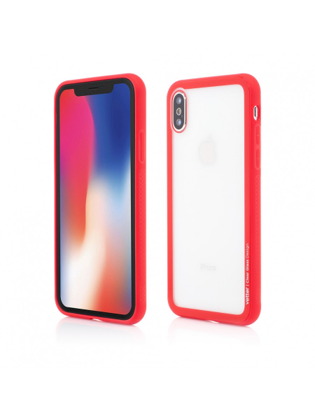 Husa iPhone X | Clip-On Hybrid | Soft Edge with Clear Back Glass | Red 0