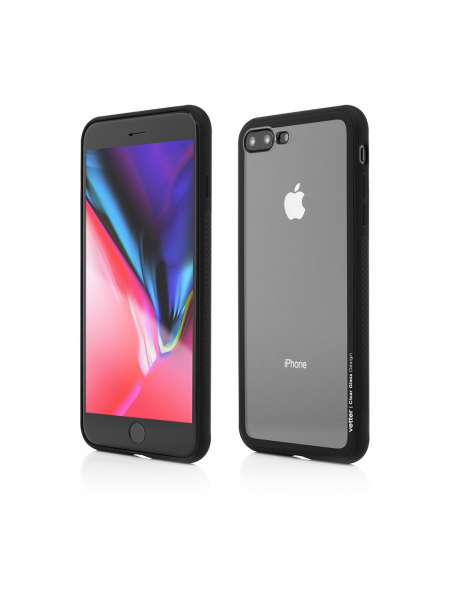 Husa iPhone 8 Plus, 7 Plus | Clip-On Hybrid | Soft Edge with Clear Back Glass | Black 0