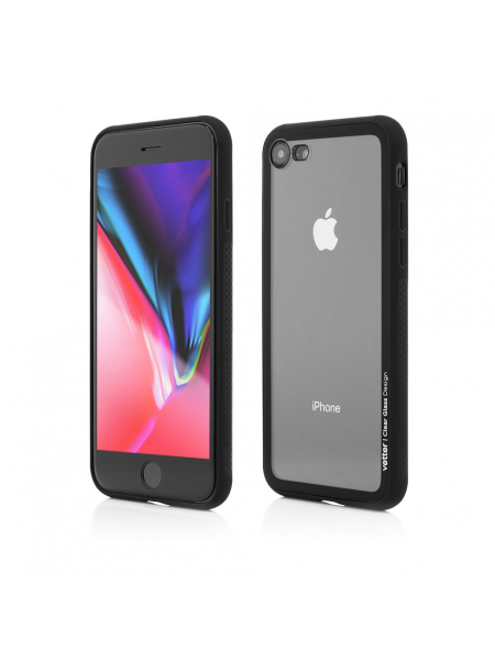 Husa iPhone 8, 7 | Clip-On Hybrid | Soft Edge with Clear Back Glass | Black [0]