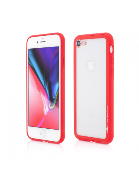 Husa iPhone 8, 7   Clip-On Hybrid   Soft Edge with Clear Back Glass   Red 0