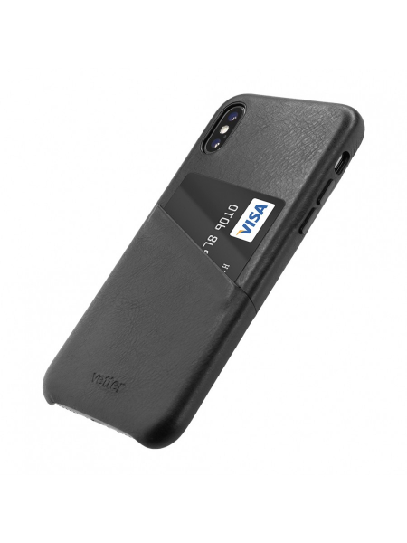 Husa iPhone XS, X | Clip-On Genuine Leather with Card Holder | Black [2]