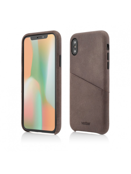 Husa iPhone XS, X | Clip-On Genuine Leather with Card Holder | Coffee 0
