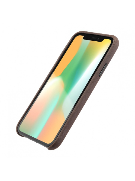 Husa iPhone XS, X | Clip-On Genuine Leather with Card Holder | Coffee 1