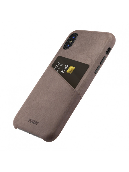 Husa iPhone XS, X | Clip-On Genuine Leather with Card Holder | Coffee 2