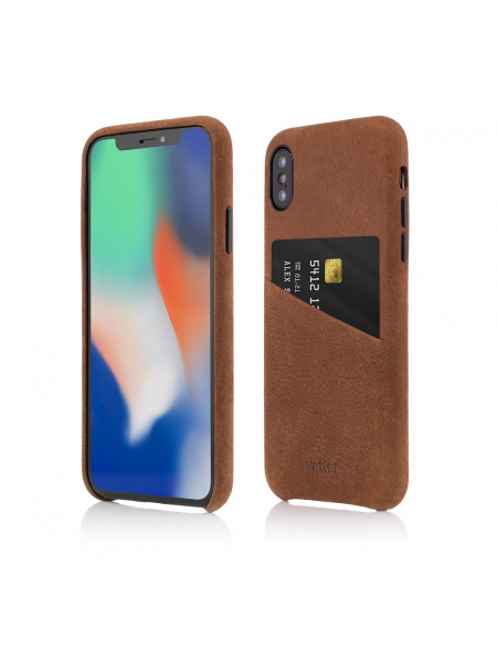 Husa iPhone XS, X | Clip-On Genuine Leather with Card Holder | Brown 1