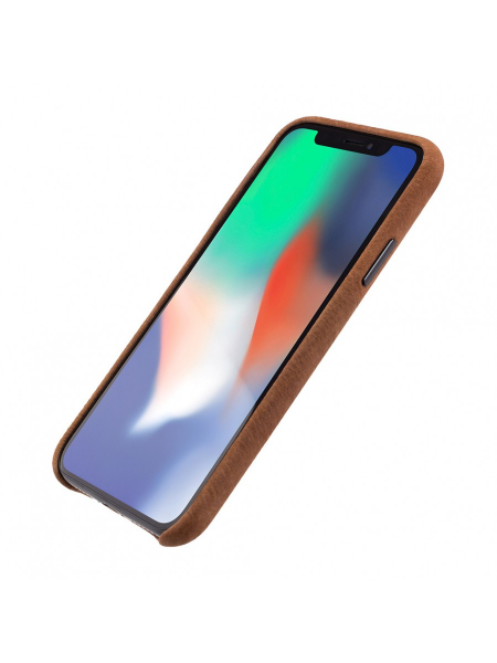Husa iPhone XS, X | Clip-On Genuine Leather with Card Holder | Brown 0