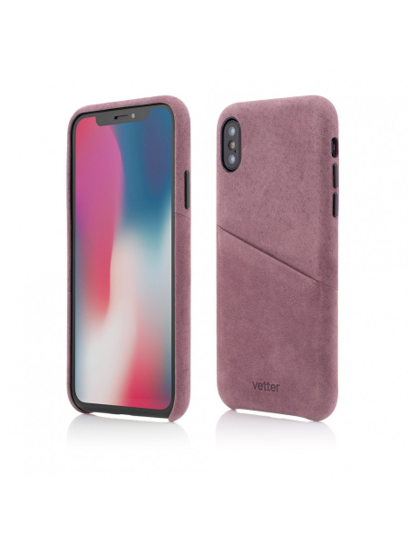 Husa iPhone XS, X | Clip-On Genuine Leather with Card Holder | Fuchsia 0