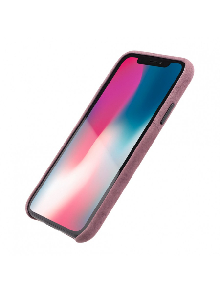 Husa iPhone XS, X | Clip-On Genuine Leather with Card Holder | Fuchsia 1