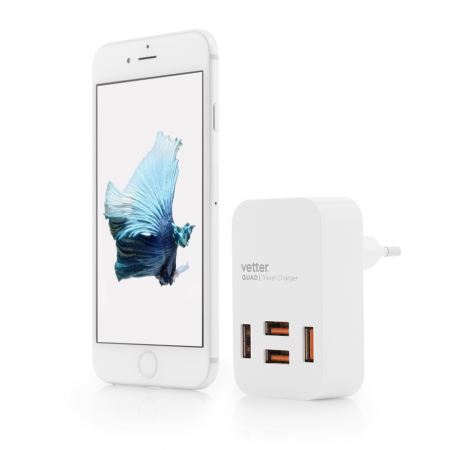 Incarcator Priza 4 Porturi USB Travel | 4 x USB | 4A | White 2