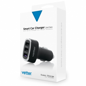 Incarcator Auto Smart 2nd Gen | QC 3.0 and Super Charge | Smart Outputs | 3 x USB | Black2