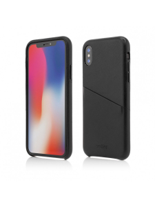 Husa iPhone XS, X | Clip-On Genuine Leather with Card Holder | Black [0]