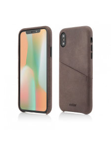 Husa iPhone XS, X | Clip-On Genuine Leather with Card Holder | Coffee0
