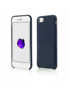 Husa iPhone 8, 7 | Clip-On with Card Port | Carbon Fiber Feel | Blue0