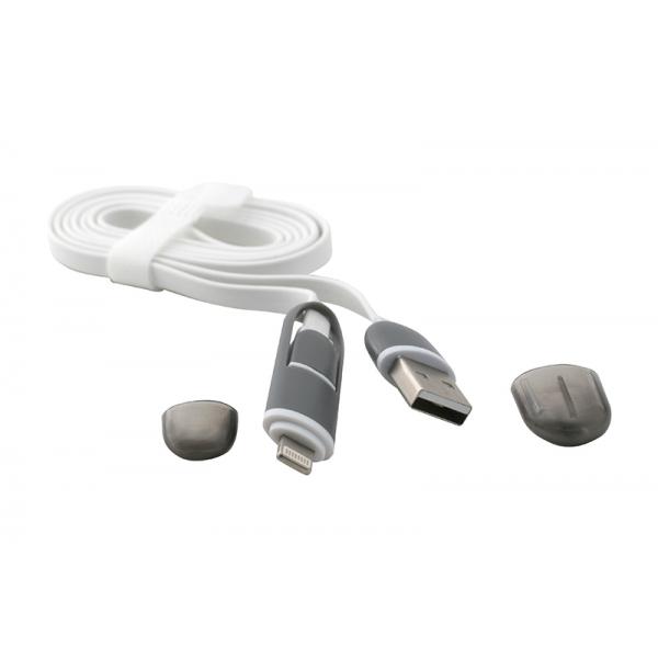 USB Cablu 2in1 Micro USB/iPHONE 5/6 Alb 0