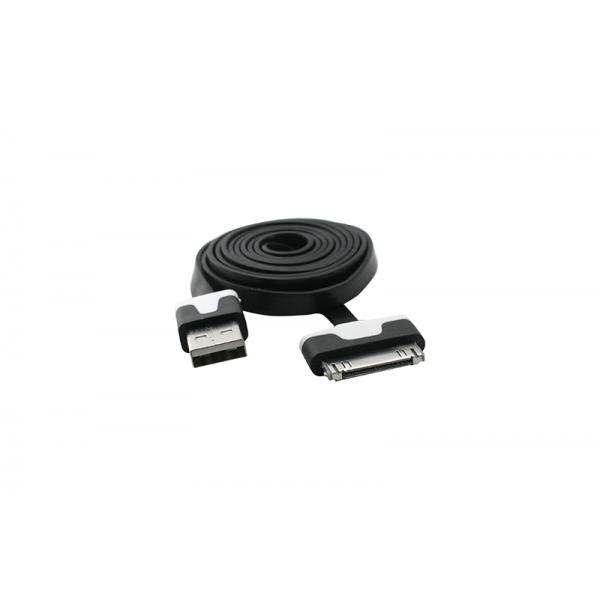 USB Cablu Flat compatibil cu iPHONE 4 Negru 0