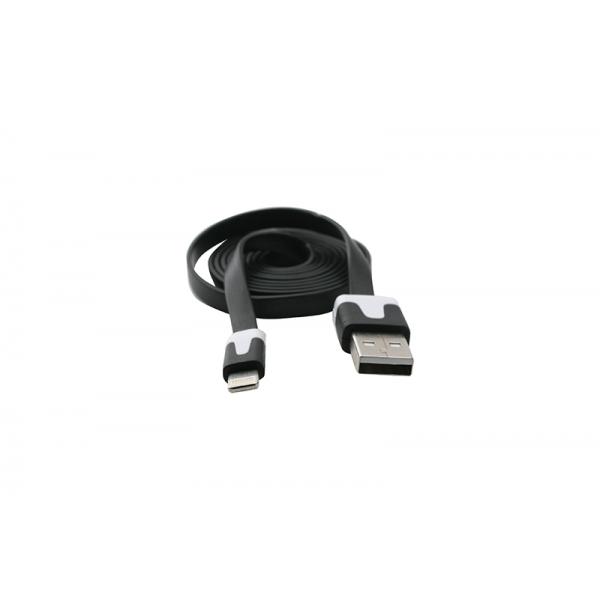USB Cablu Flat compatibil cu iPHONE 5/6 Negru 0
