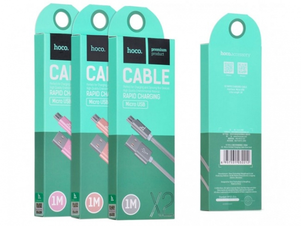 CABLU HOCO X2 KNITTED CHARGING MICRO USB, ROSE GOLD 0