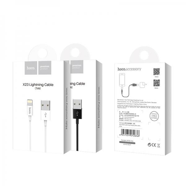 CABLU HOCO X23 SKILLED CHARGING MICRO USB, WHITE 0