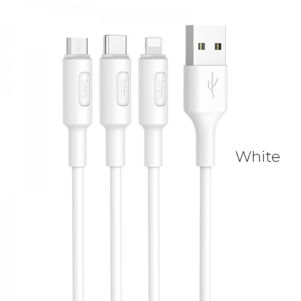 CABLU HOCO X25 SOARER 3 IN 1 CHARGING (LIGHTNING-MICRO USB-TYPE C), WHITE 2