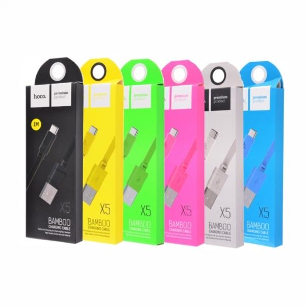 CABLU HOCO X5 BAMBOO MICRO USB, YELLOW 0