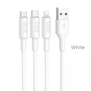 CABLU HOCO X25 SOARER 3 IN 1 CHARGING (LIGHTNING-MICRO USB-TYPE C), WHITE2