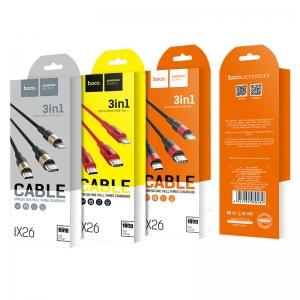 CABLU HOCO X26 XPRESS 3 IN 1 CHARGING (LIGHTNING-MICRO USB-TYPE C), BLACK-GOLD0