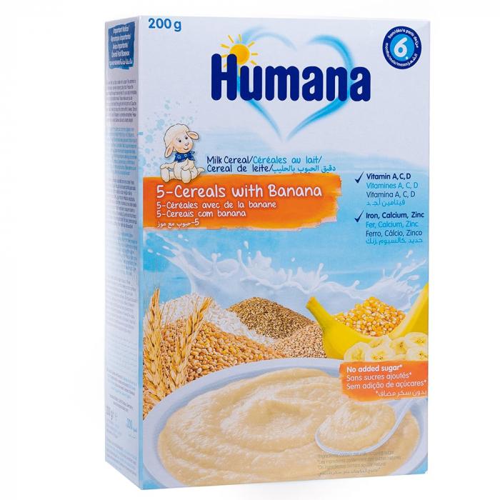 Humana 5 cereale cu lapte si banane, 200g [0]