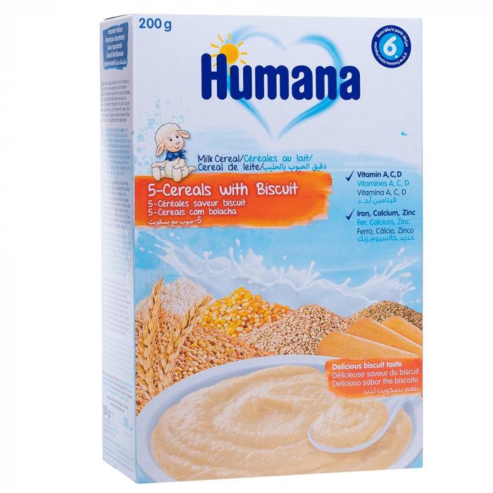 Humana 5 cereale cu lapte si biscuiti, 200g [0]