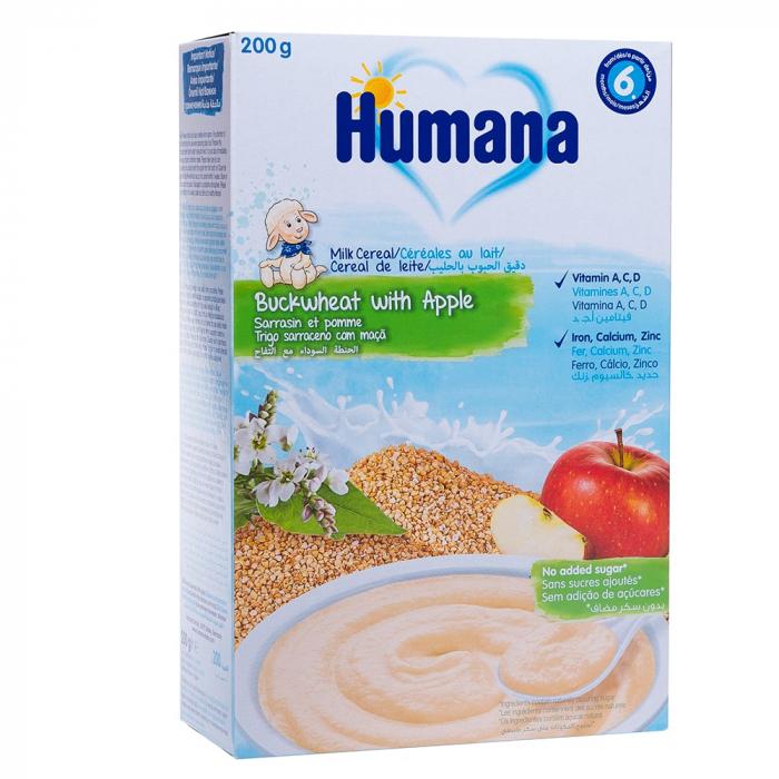 Humana cereale cu lapte, hrisca si mar, 200g [0]