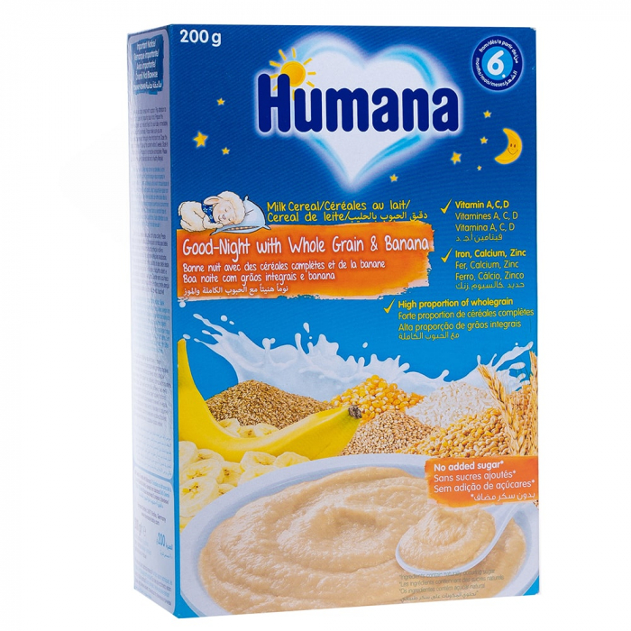 Humana cereale noapte buna cu lapte, cereale integrale si banane [0]