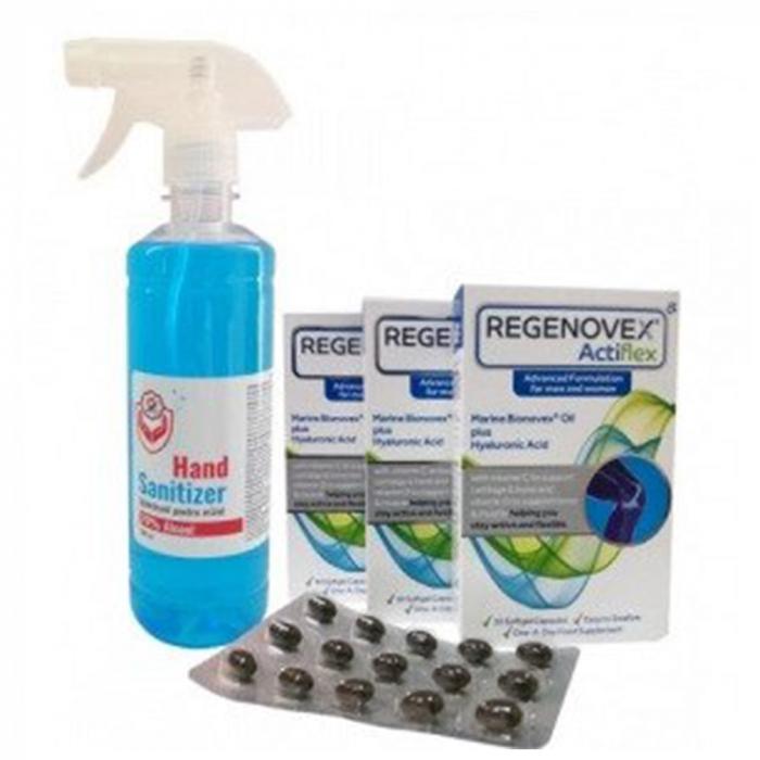 Pachet 3 cutii regenovex actiflex capsule + 1 nevada igienizant pentru maini [0]