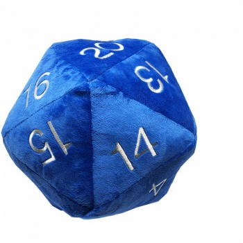 UP - Dice - Jumbo D20 Novelty Dice Plush in Blue with Silver Numbering 0