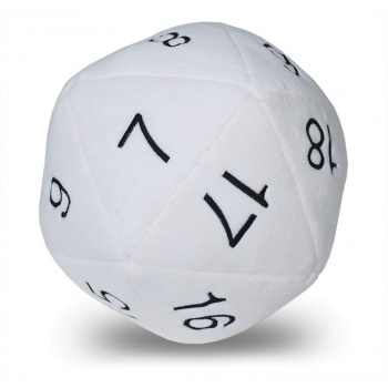 D20 Novelty Dice Plush in White with Black Numbering 0
