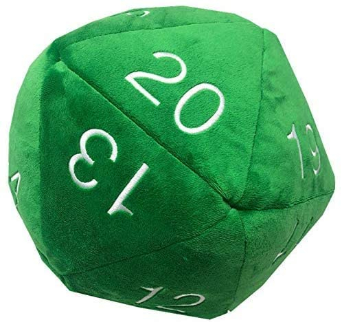 UP - Dice - Jumbo D20 Novelty Dice Plush in Green with White Numbering 0