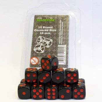 Dice - 16mm D6 Dice Set - Black with Red Dots (15 Dice) - Blackfire [0]