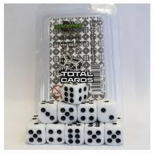 Dice - 16mm D6 Dice Set - White (15 Dice) - Blackfire  0