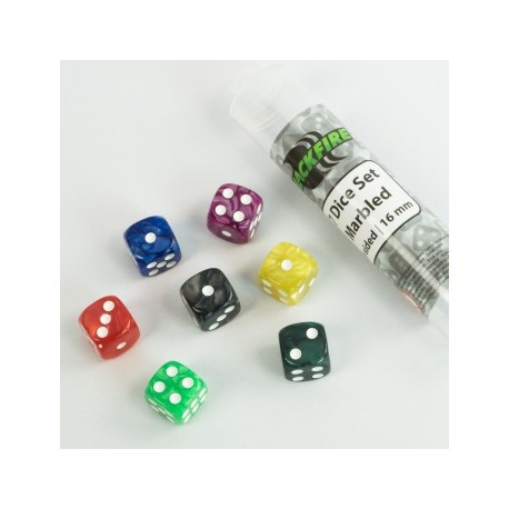 Dice - 16mm Marbled D6 in Tube (7 Dice) - Blackfire  0